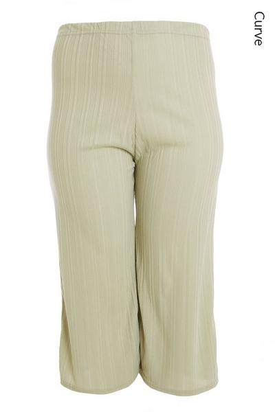 Curve Sage Ribbed Culotte Trousers
